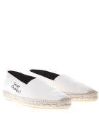 Saint Laurent Off-white Canvas Espadrilels With Side Logo - Off-white
