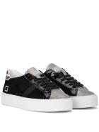 D.A.T.E. Vertigo Chamois Black Nabuck And Laminated Leather Sneaker - Black