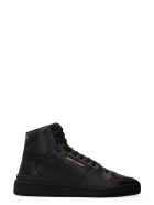 Saint Laurent Leather High-top Sneakers - black