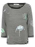 Saverio Palatella Embroidered Striped Jumper - Black/ivory