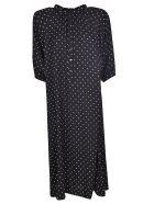Celine Long Dotted Print Dress - Black
