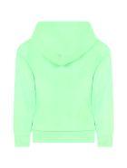 Balenciaga Neon Green Sweatshirt For Kids With Logo - Green