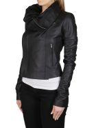 Rick Owens Black Leather Biker Jacket - Black