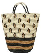Sensi Studio Patterned Detail Weaved Tote - Natural/Black/Ochre
