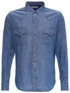 Saint Laurent Classic Western Cotton Blend Shirt - Light blue