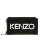 Kenzo Logo Patch Zip Around Wallet - Black