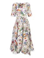 Samantha Sung Aster Linen Midi Dress S/s Boat Neck - White Red
