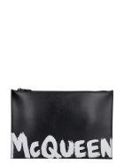 Alexander McQueen Logo Detail Flat Leather Pouch - black