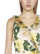 Dolce & Gabbana Camellia Print Silk Midi Dress - Camelie giall f.rosa