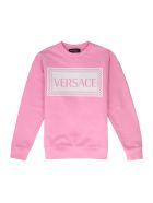 Young Versace Cotton Crew-neck Sweatshirt - Pink