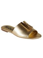 Moschino Sole Logo Sliders - Gold