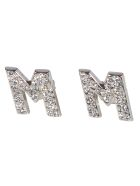 MSGM Crystal Logo Earrings - Silver