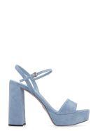 Prada Suede Ankle Strap Sandals - Blue