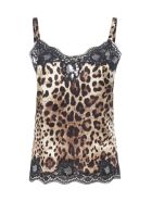 Dolce & Gabbana Leopard-print Satin Top With Lace - Leo new