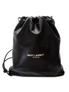 Saint Laurent Teddi Black Leather Backpack - Black