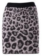 Alberta Ferretti Leopard Print Skirt - Gray