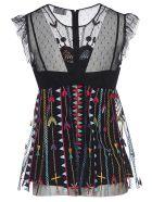 RED Valentino Love Celebration Embroidered Blouse - Black/Multicolor