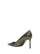 Saint Laurent Anja Pumps In Patent Leather With A Leopard Print - Marrone