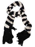 Saint Laurent Striped Knit Scarf - Black/White