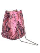 the VOLON Snake-skin Effect Bucket Bag - Neon Pink