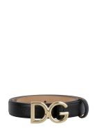 Dolce & Gabbana Dg Buckle Leather Belt - black