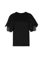 Alberta Ferretti Broderie Anglaise Sleeve T-shirt - black