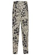 Alberta Ferretti Printed Detail Long Trousers - Off-White/Black
