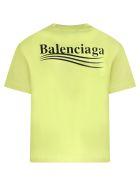 Balenciaga Neon Yellow T-shirt For Kids With Logo - Yellow