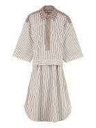 Plan C Striped Cotton Blouse - White