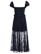 self-portrait Dress S/sv Neck Bustier W/lace - Navy