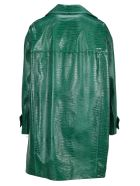 Marni Leather Coat With Lizard Print - JADE
