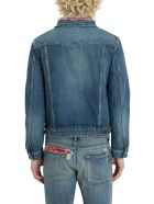 Saint Laurent Bandana Distressed Denim Jacket - Blu