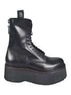 R13 Rear Zipped Lace-up Boots - Black