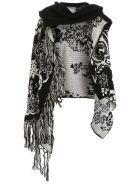 Sacai Maxi Fringed Cardigan - BLACK (White)
