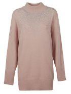 Blumarine Crystal Embellished Oversize Sweater - pink