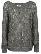 Brunello Cucinelli V-neck Woven Sweater - GREY