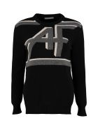 Alberta Ferretti Intarsia Wool And Cashmere Sweater - black
