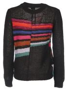 Paul Smith Black Pullover With Multicolor Inlays - Multicolor