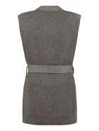 Agnona Belted Long Vest - grey
