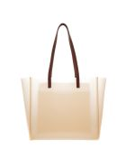 Stella McCartney Transparent Tote Bag With Logo Print - Beige