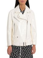 Unfleur White Patent Leather Biker Jacket - White