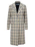 Prada Check Print Single-breasted Coat - BLUE CHECK