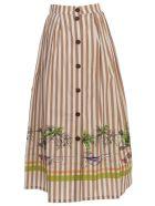 Erika Cavallini Ellis Skirt W/stripes And Print - Rig F Riga Beige St Palme