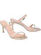 Stuart Weitzman Aleena Metallic Leather Sandals - grey