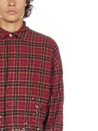 Palm Angels Spray And Check Motif Cotton Shirt - Rosso
