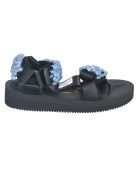 Cecilie Bahnsen Floral Applique Sandals - Nero/blu