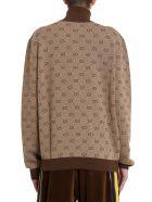 Gucci Gg Jacquard Knit Bomber - Beige