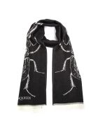 Alexander McQueen Skull Bug Black Wool Scarf - Black/ivory