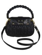 Miu Miu Matelassé Woven Shoulder Bag - Black