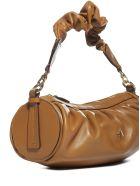 MANU Atelier Ruched Cylinder Leather Bag - Sand